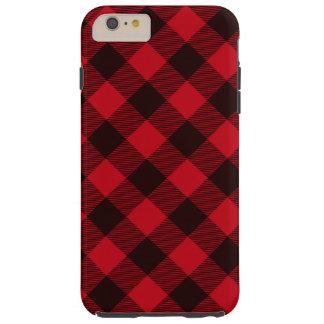 Capas iPhone 6 Plus Tough Lenhador vermelho e preto do búfalo da xadrez da
