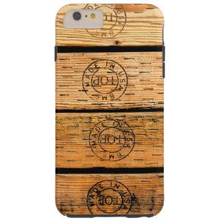Capas iPhone 6 Plus Tough Listras de madeira feitas nos EUA