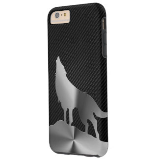Capas iPhone 6 Plus Tough Lobo metálico do urro com fibra do carbono