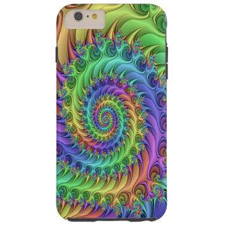 Capas iPhone 6 Plus Tough O Fractal psicadélico legal Funky espirala teste