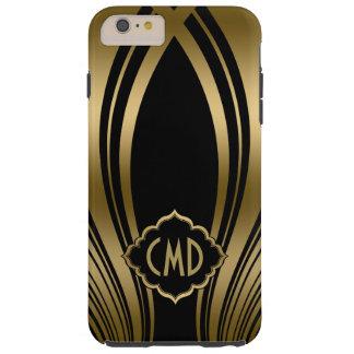 Capas iPhone 6 Plus Tough Ouro Monogrammed e listras onduladas pretas