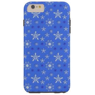 Capas iPhone 6 Plus Tough teste padrão do azul do feriado do Natal