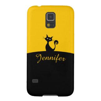Capas Par Galaxy S5 Arte mínima do gato preto, seu nome