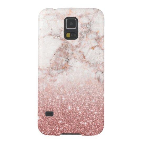 Capas Par Galaxy S5 Brilho cor-de-rosa Ombre de mármore branco do ouro