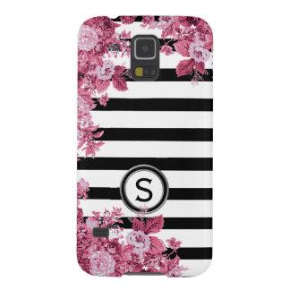 Capas Par Galaxy S5 Monograma floral do motivo do rosa branco preto do