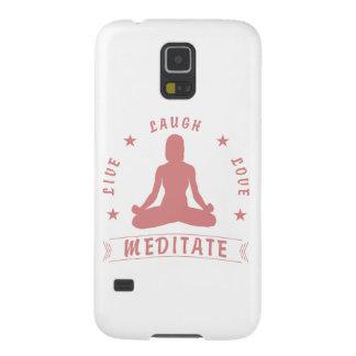 Capas Par Galaxy S5 O amor vivo do riso Meditate texto fêmea (o rosa)