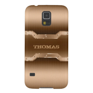 Capas Par Galaxy S5 O ouro na moda e Brown escovaram o olhar do metal