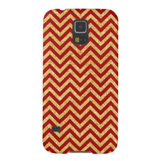 Capas Par Galaxy S5 O ziguezague vermelho do brilho do ouro listra o
