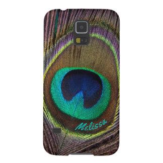 Capas Par Galaxy S5 Olho bonito da pena do pavão, seu nome