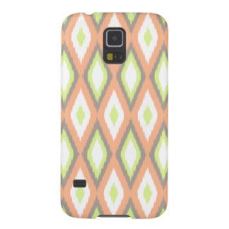 Capas Par Galaxy S5 Pêssego e teste padrão verde de Ikat