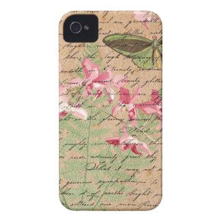 Capas Para iPhone 4 Case-Mate Colagem da samambaia da orquídea do vintage