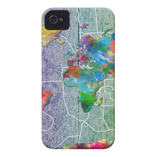 Capas Para iPhone 4 Case-Mate madeira 4 do mapa do mundo