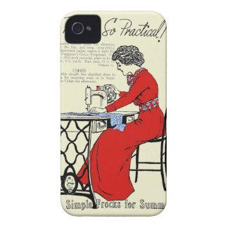 Capas Para iPhone 4 Case-Mate Senhora no vestido vermelho na máquina de costura