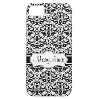 Capas Para iPhone 5 Adicione seu damasco preto e branco elegante