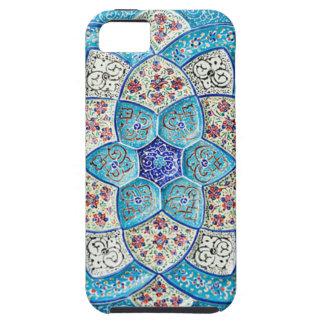 Capas Para iPhone 5 Azul de turquesa marroquino tradicional, branco,