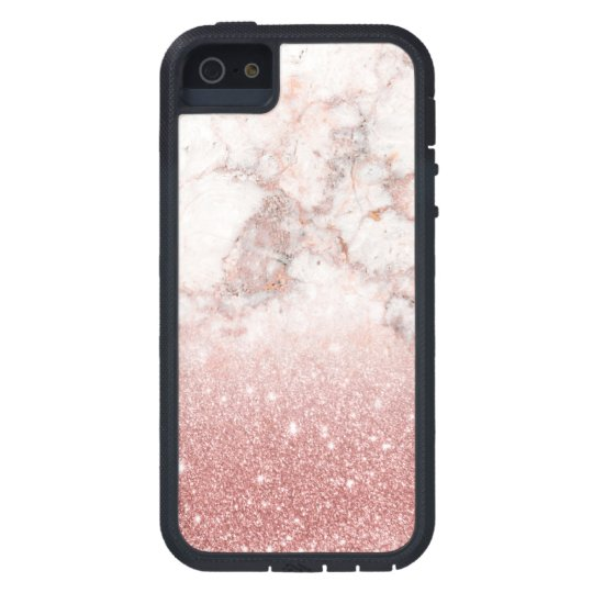 Capas Para iPhone 5 Brilho cor-de-rosa Ombre de mármore branco do ouro