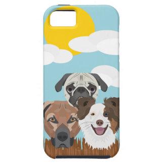 Capas Para iPhone 5 Cães afortunados da ilustração em uma cerca de