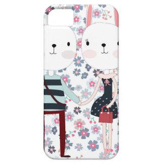 Capas Para iPhone 5 Casal bonito do coelho do coelho do vintage no