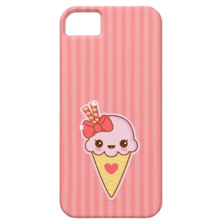 Capas Para iPhone 5 Cone feliz do sorvete da morango de Kawaii