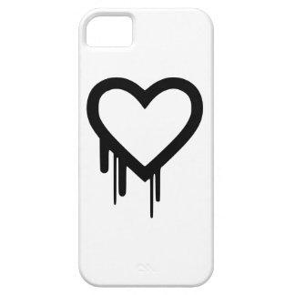 Capas Para iPhone 5 Coração preto do gotejamento de Heartbleed