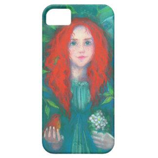 Capas Para iPhone 5 Criança da floresta, verde da menina do gengibre