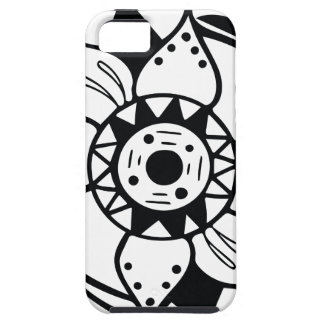 Capas Para iPhone 5 Desenho preto e branco monocromático da flor