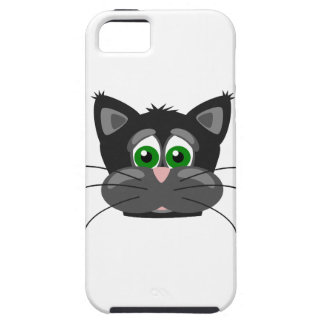 Capas Para iPhone 5 gato preto Verde-eyed