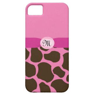 Capas Para iPhone 5 Girafa cor-de-rosa do monograma