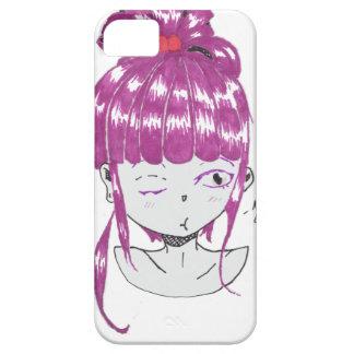 Capas Para iPhone 5 menina adolescente do cabelo cor-de-rosa do chibi