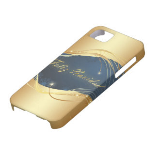 Capas Para iPhone 5 Motriz dourado do Natal com fundo azul…