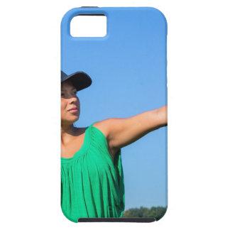 Capas Para iPhone 5 Mulher com da luva e do boné basebol de jogo fora