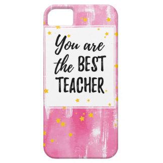 Capas Para iPhone 5 O melhor professor - aguarela amarela cor-de-rosa