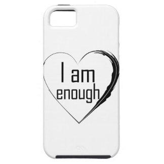 Capas Para iPhone 5 o preto emplumou-se o coração 'que eu sou enough