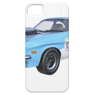 Capas Para iPhone 5 os anos 70 azuis e carro branco do músculo