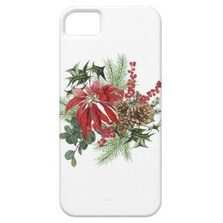 Capas Para iPhone 5 poinsétia moderna do feriado do vintage floral