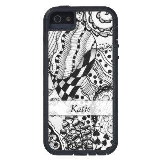 Capas Para iPhone 5 Preto personalizado & branco Doodled, emaranhado