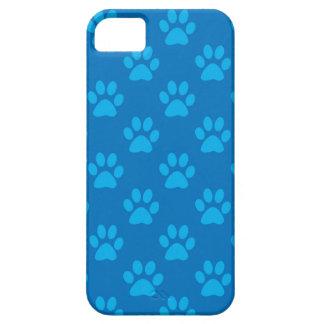 Capas Para iPhone 5 Teste padrão azul das patas do filhote de cachorro