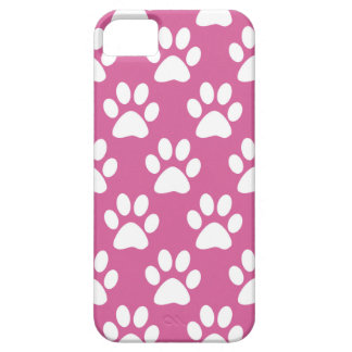 Capas Para iPhone 5 Teste padrão cor-de-rosa e branco das patas do