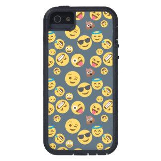 Capas Para iPhone 5 Teste padrão louco de Emoji (fundo cinzento)