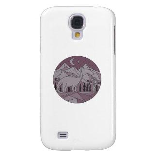 Capas Personalizadas Samsung Galaxy S4 Círculo mono L da lua da montanha do Brontosaurus