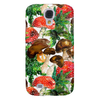Capas Personalizadas Samsung Galaxy S4 Cogumelos da aguarela e teste padrão verde da