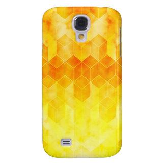 Capas Personalizadas Samsung Galaxy S4 Design geométrico do cubo do Sunburst amarelo