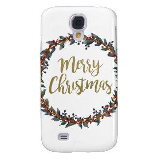 Capas Personalizadas Samsung Galaxy S4 Grinalda da aguarela - Feliz Natal - ramos