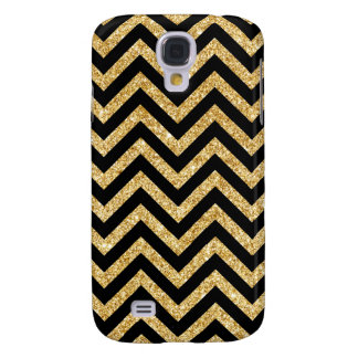 Capas Personalizadas Samsung Galaxy S4 O ziguezague preto do brilho do ouro listra o