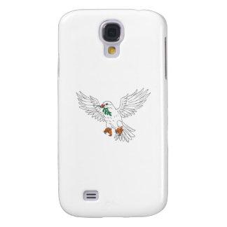 Capas Personalizadas Samsung Galaxy S4 Pomba com o desenho verde-oliva da folha