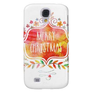Capas Samsung Galaxy S4 Feliz Natal retro da aguarela