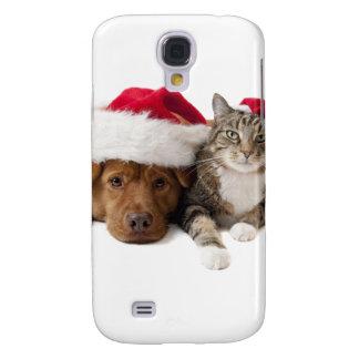Capas Samsung Galaxy S4 Gatos e cães - gato do Natal - cão do Natal