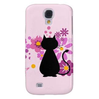Capas Samsung Galaxy S4 O gato no rosa floresce a caixa da galáxia S4 de