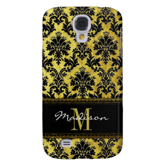 Capas Samsung Galaxy S4 Preto & damasco floral do ouro, laço, nome &
