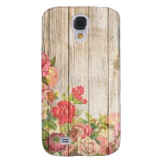 Capas Samsung Galaxy S4 Rosas românticos rústicos do vintage de madeira